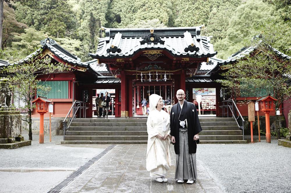 神社で着物挙式撮影写真