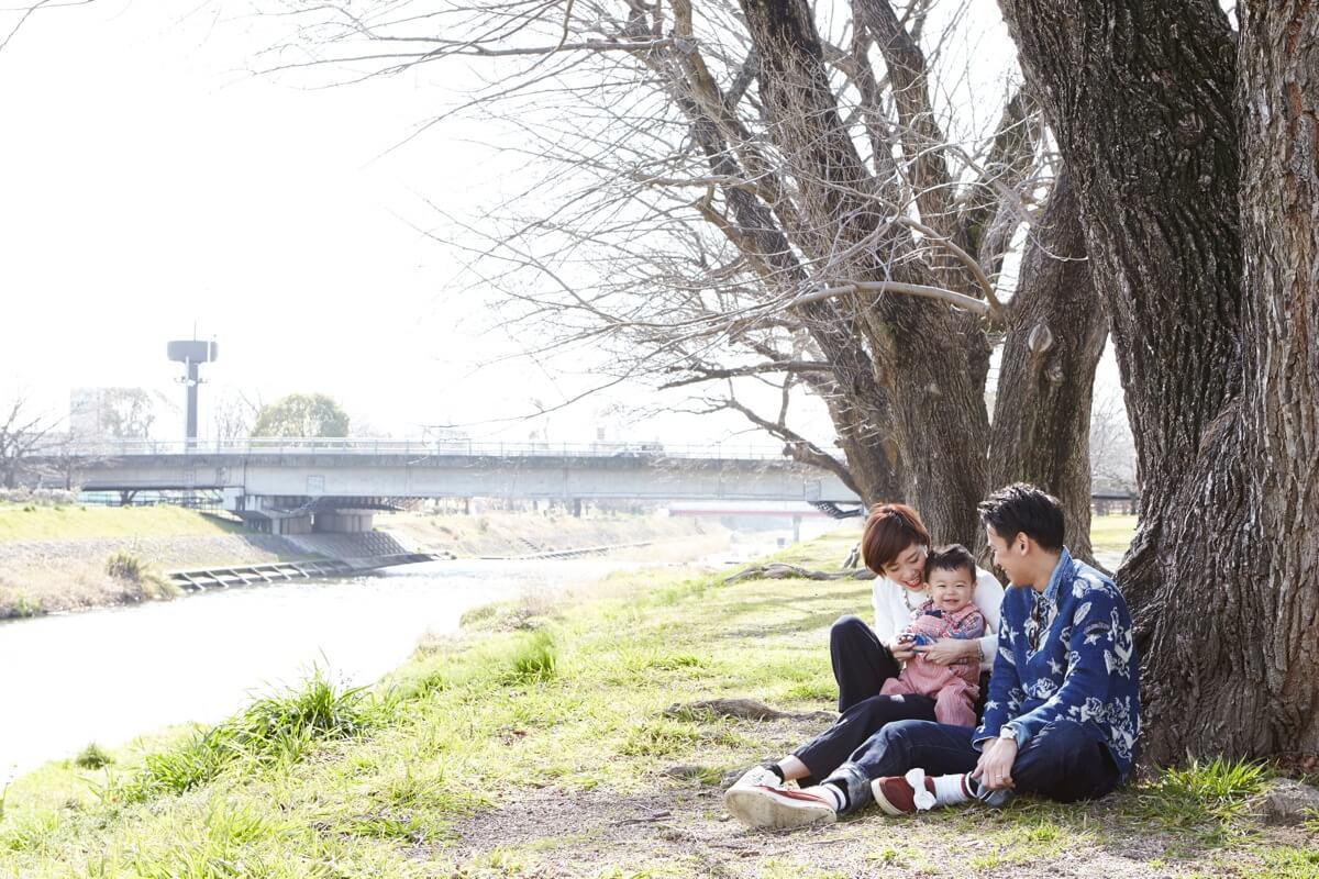公園で家族撮影写真